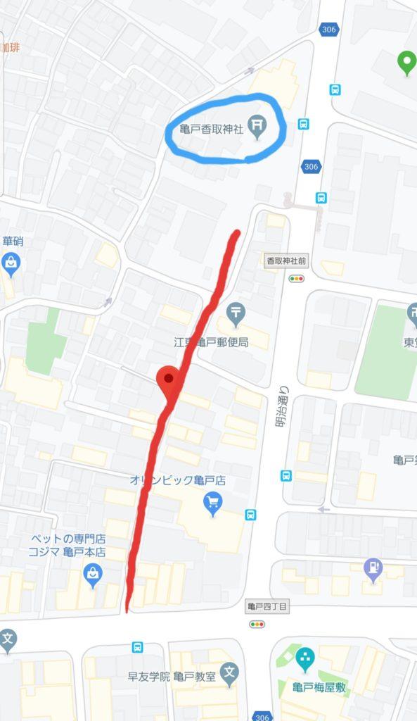 かめいど勝運大道芸開催場所マップ